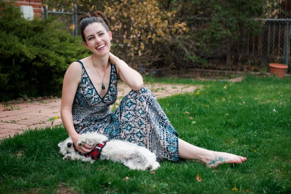 Hanging in the yard with Westie puppy in Maxi loungewear dress