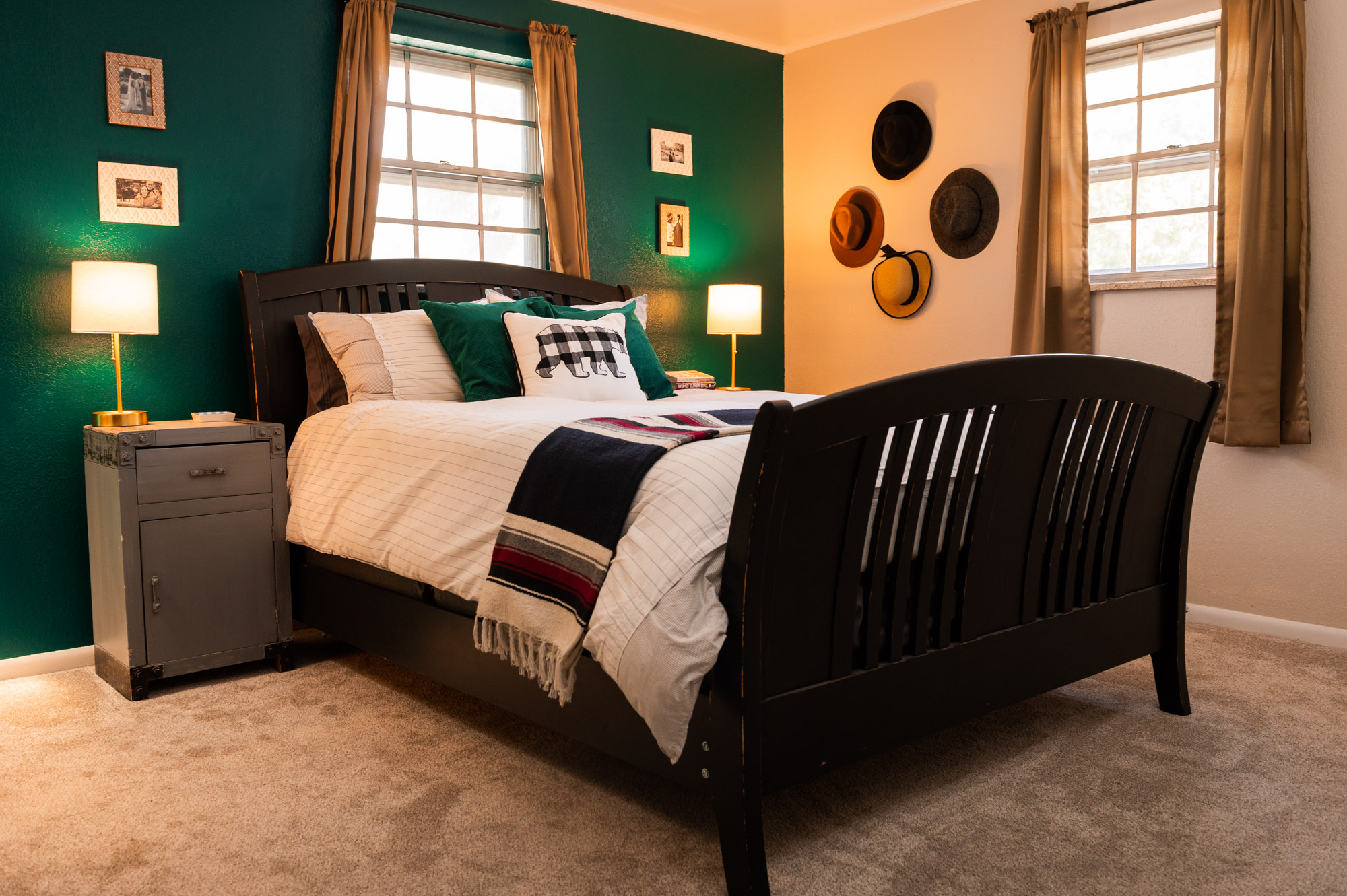 Emerald Green Master with Gold accents and black furniture