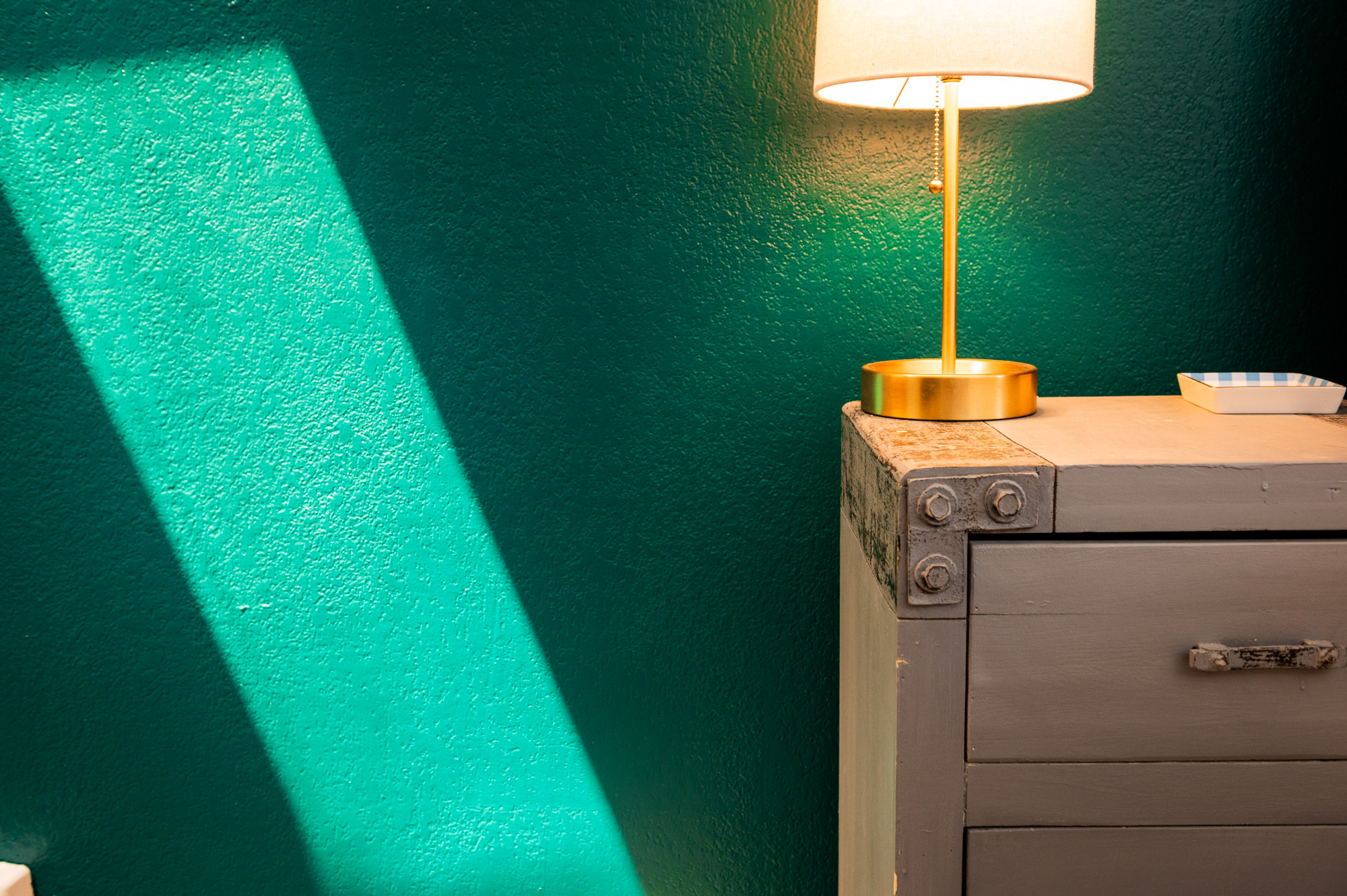A close up look of our Emerald Green bedroom in direct light
