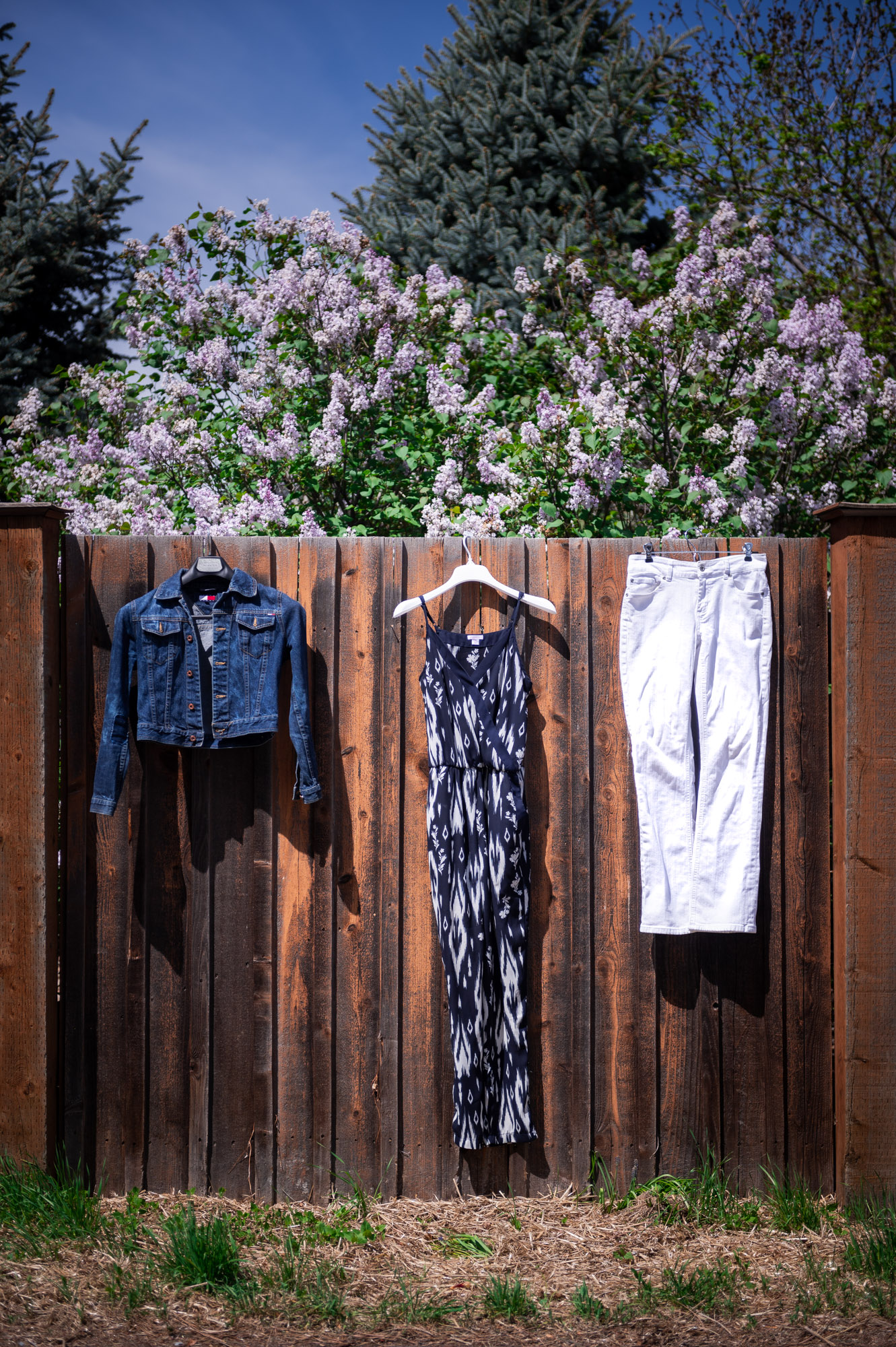 Jumpsuit, white jeans, and a jean jacket hanging on a fence with purple lilacs.