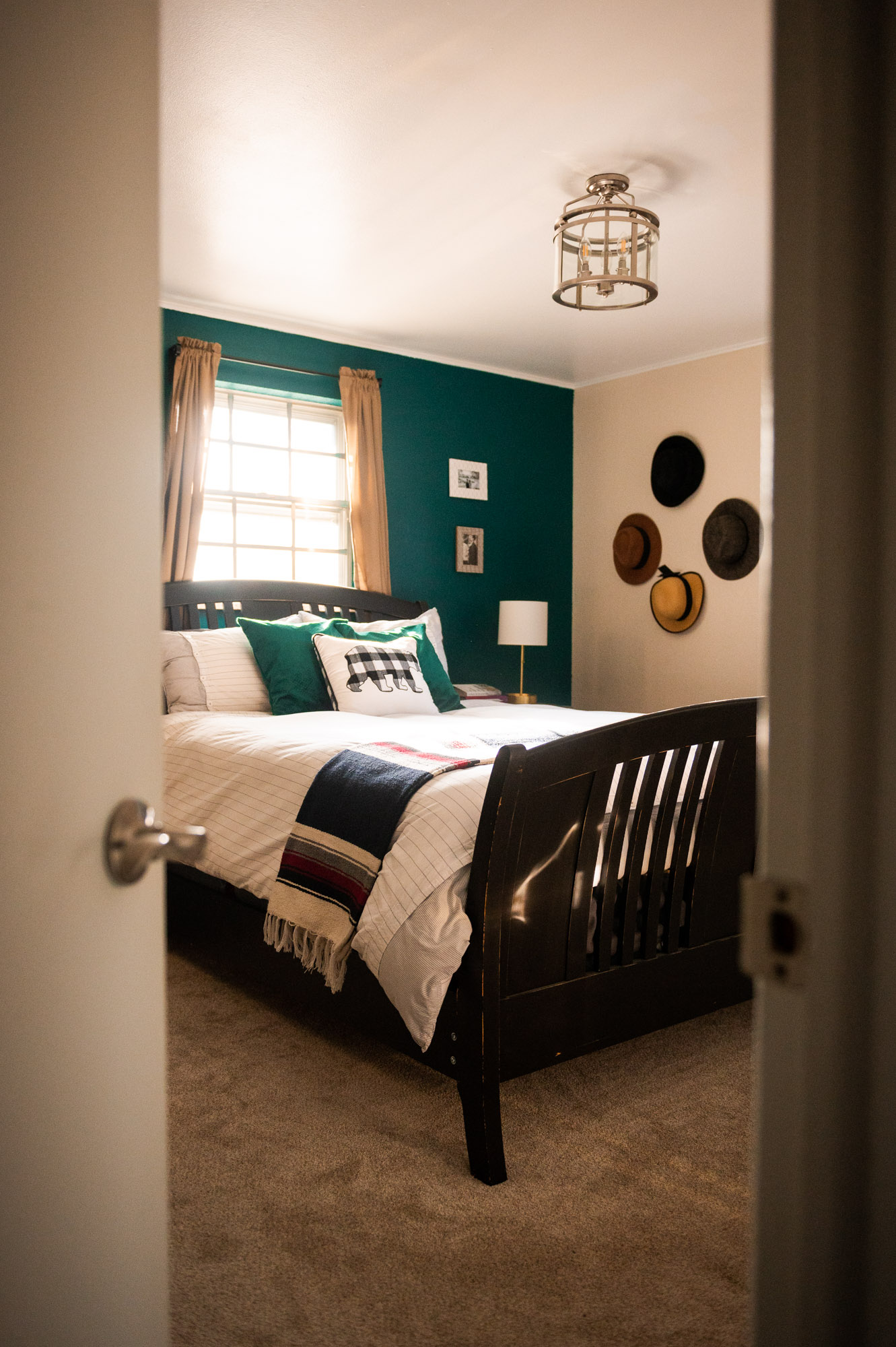 Looking into our Emerald green Master Bedroom