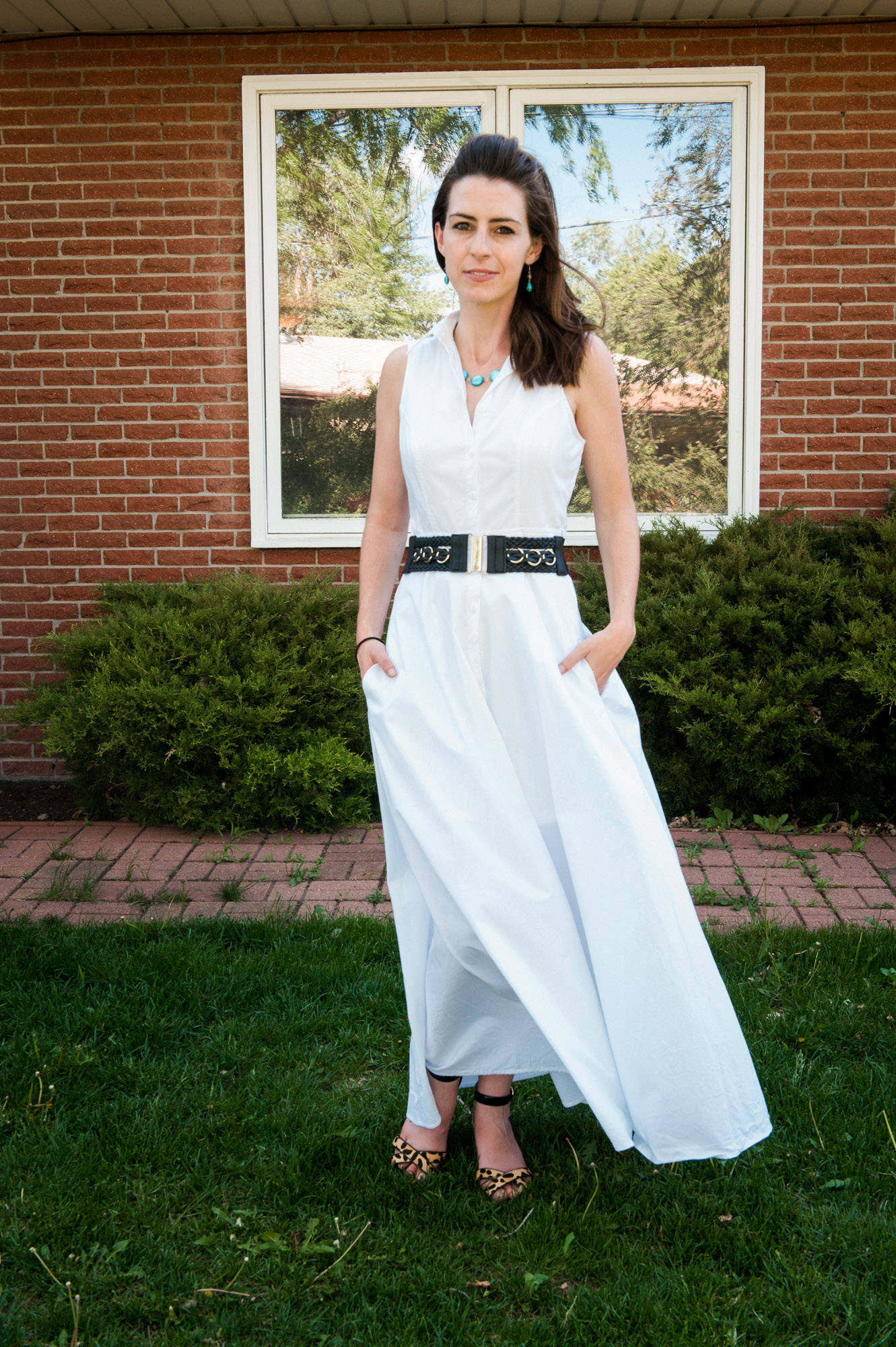 White dress with a statement necklace