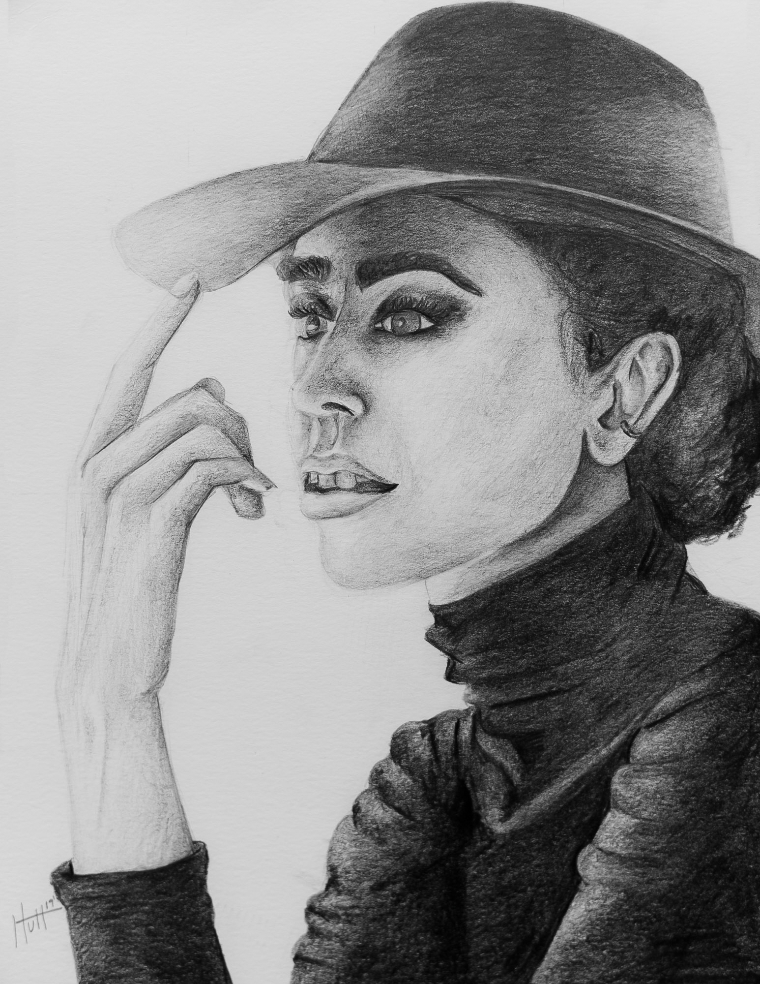 Female figure drawing of Girl a in Hat