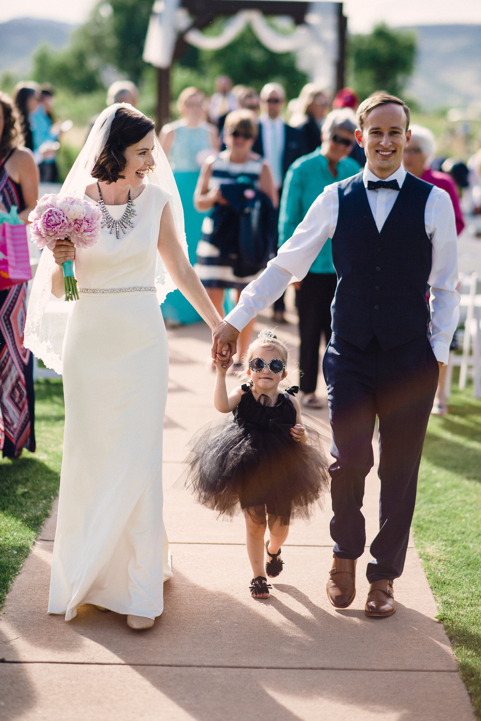 Walking down the aisle in Breakfast At Tiffany's wedding theme
