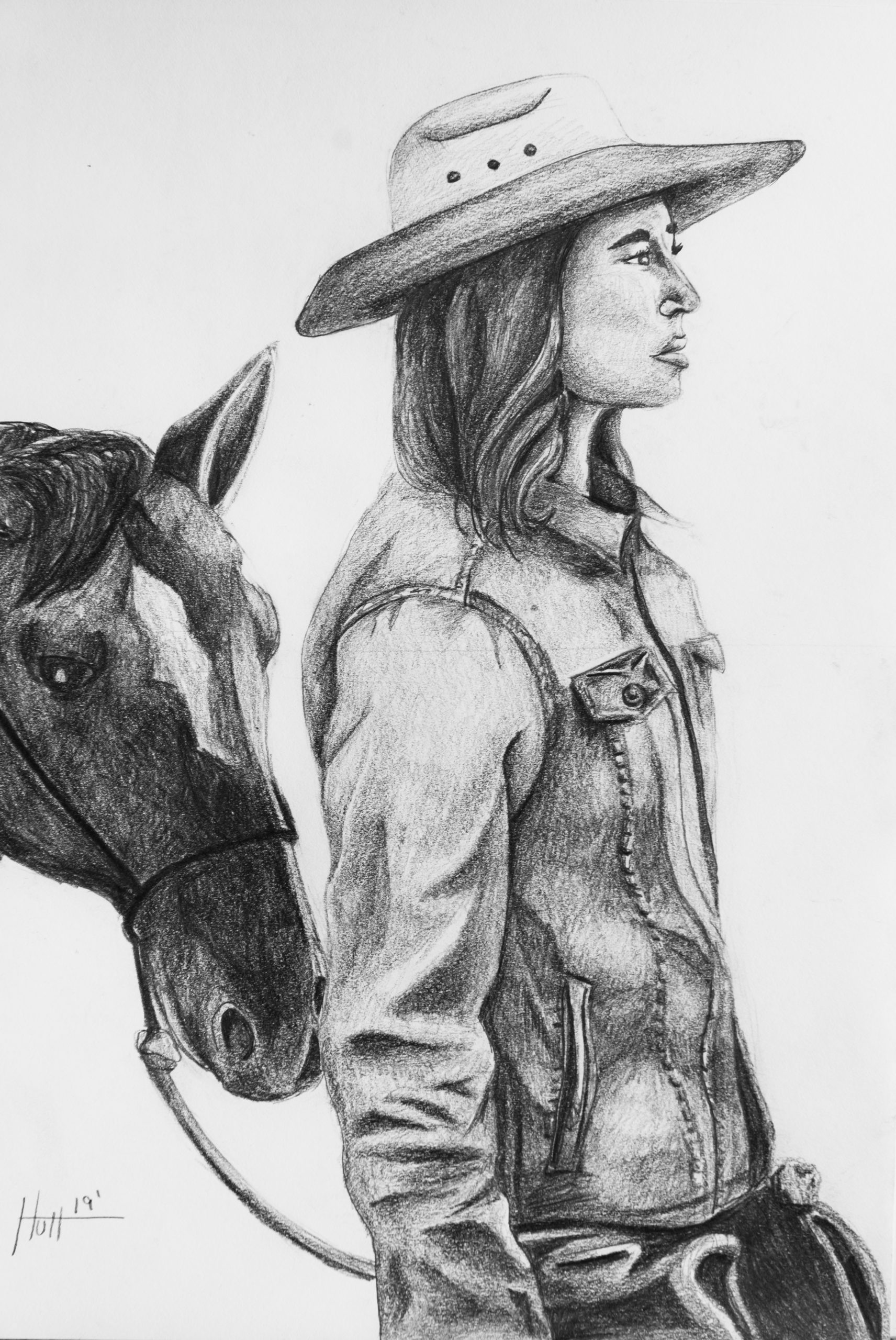 Female figure drawing of a cowgirl and horse