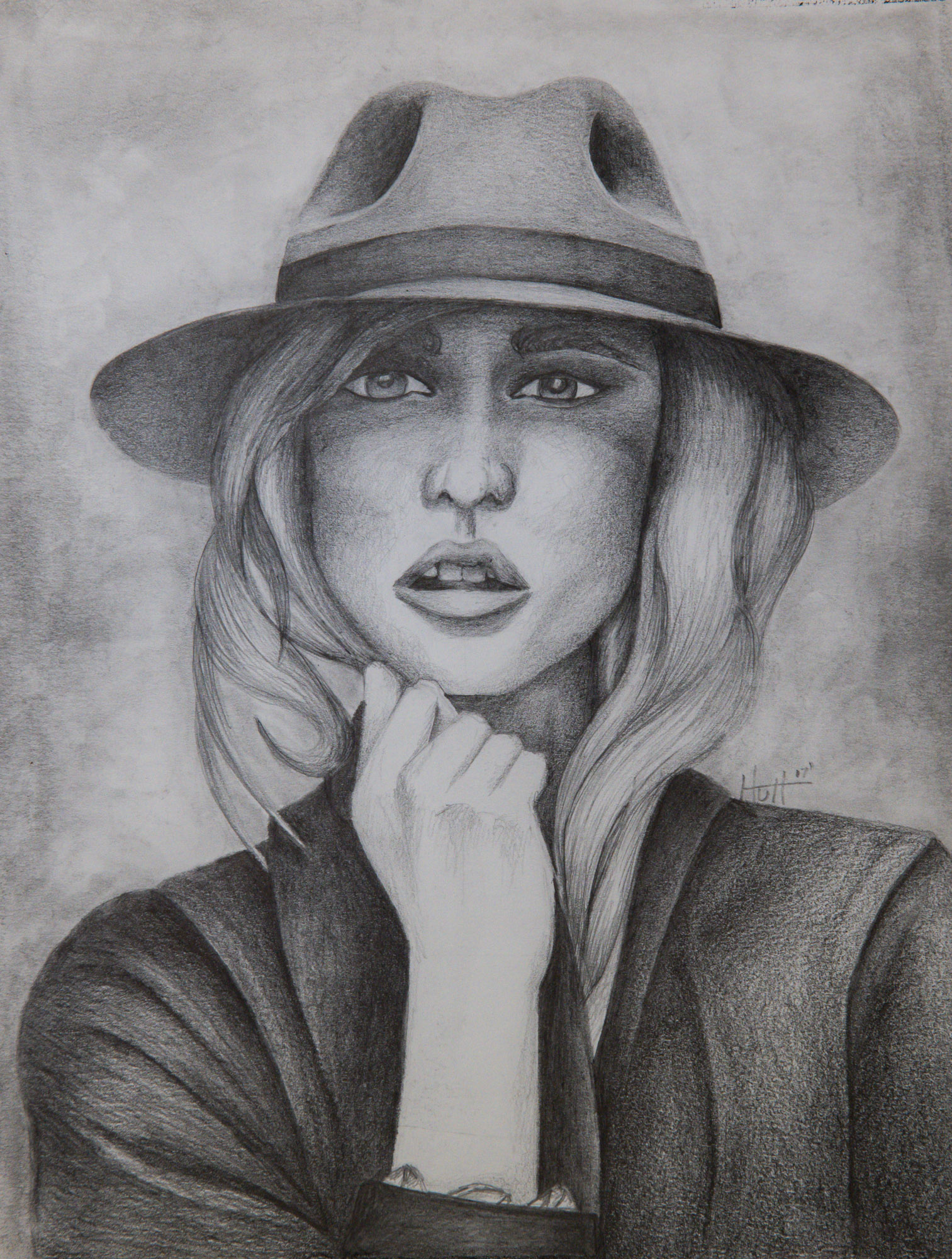 Girl in hat holding hair graphite drawing