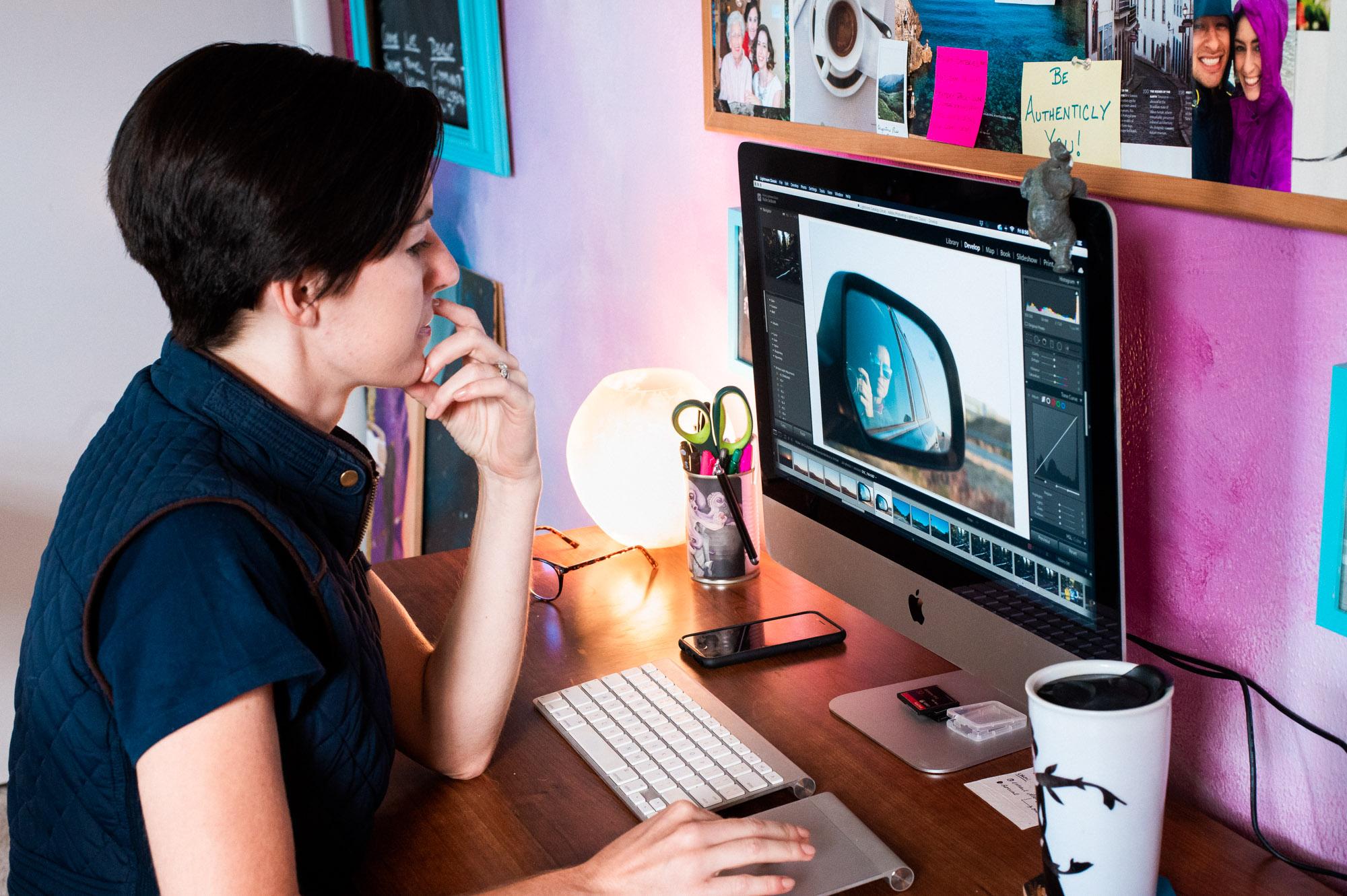 My photo editing process on my desktop computer