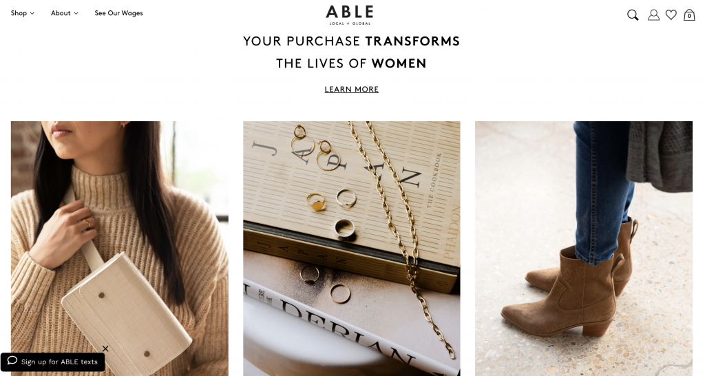 Example of The Hero's Journey on Your Website with fashion brand ABLE